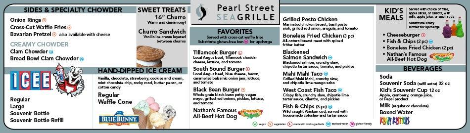 Pearl Street Grille menu