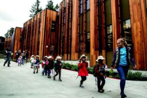 Kids walking outside the SAMi-Zoo learning center.